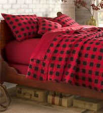 RED BUFFALO CHECK Full / Queen QUILT SET : COUNTRY WESTERN LODGE CABIN PLAID BED