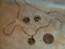 VTG GOLD TONE ROSE WITH AB RHINESTONE CENTER PENDANT/CHAIN& MATCHING CLIP EARRIN