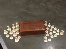 Antique Chess Pieces in Carved Wooden Box. India, End Of XIX - Beginning Of XX c