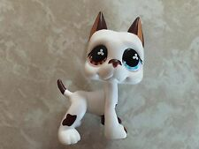 Littlest Pet Shop RARE Great Dane Dog Puppy #577 White Chocolate Brown Blue LPS