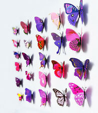 UK Purple PVC 3D Butterfly DIY Wall Stickers Art Decal Home Decorations Decor V1