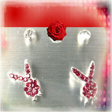 PLAY BOY BUNNY EARRINGS/ PETITE/ RED CRYSTAL STONE & 1 PR. CRYSTAL STUDS!