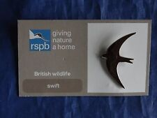 RSPB Giving Nature a Home ( Eurasian ) Swift Metal Pin Badge on Card NOC