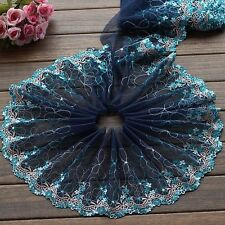 """2 Yards Lace Trim Dark Blue Tulle Exquisite Embroidery Flower Wedding 7.48"""" wide"""
