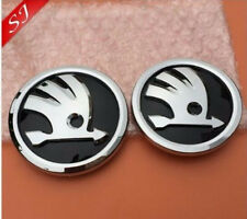 GENUINE NEW SKODA 90mm and 80mm pair Front/Boot Rear Trunk Emblem Badge