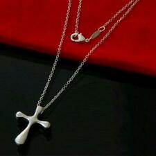 New 925 Sterling Silver Smooth Cross Pendant on a Fine Rolo Link Chain Necklace