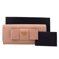 Authentic PRADA Logos Ribbon Long Bifold Wallet Purse Leather Pink Italy 08S347