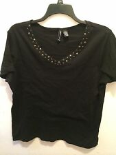 WOMENS TORRID BLACK STUDDED TRIM NECKLINE BLOUSE TOP PLUS SZ 1X