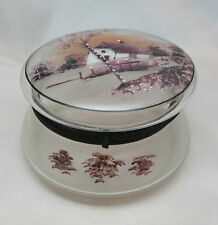 UNUSUAL CLEAR GLASS POWDER JAR / DRESSING TABLE POT WITH PAINTED HOMESTEAD SCENE