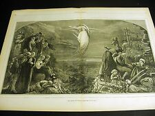 Dawn of Peace 1871 ANGEL from HEAVEN End of War Large Folio Print w Poem