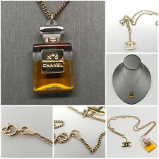 Vintage CHANEL No 5 Perfume Gold Tone CC Pendant Chain Necklace - 16""