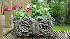 WOOD POT Hand Cast Stone Garden Ornament Flower Planter Basket ~ onefold-uk
