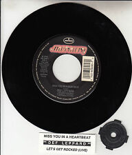 """DEF LEPPARD Miss you in a heartbeat & Rocked 7"""" 45 rpm record + juke title strip"""