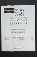 PIONEER A-757/A-656 AMPLIFIER Original Manual/User Manual Top Zust
