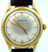ORIGINAL VINTAGE MEN 1960 ETERNA MATIC MILITARY DIAL WATCH SERVICE MOVEMENT 1247