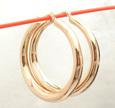 """2"""" Bellezza Bold Large All Shiny Band Style Hoop Earrings Bronze Rose Pink Color"""