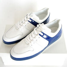 EMPORIO ARMANI white blue patent leather trim trainers shoes 12-UK/ 13-US NEW