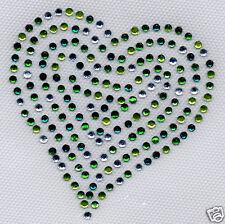 Coeur strass multicolores et cristal  verts clair et foncés  8x8 hotfix