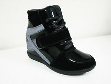 Women's High Top Sneaker Lace Up Fashion Heel Hidden Wedge Shoes, Sizes:5-11