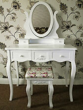 NEW LARGE WHITE FRENCH CHIC STYLE DRESSING TABLE & STOOL SET - ADJUSTABLE MIRROR