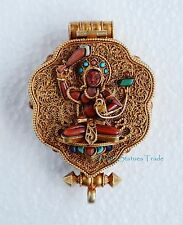 Gold Plated Silver Turquoise Coral Stones Ghau Gau Prayer Box Pendant from Nepal