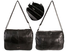 NEW LADIES LORENZ SOFT LEATHER SHOULDER BAG ORGANISER ACROSS BODY BLACK