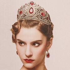 Vintage Wedding Bridal Red Crystal Queen Crown Tiara Earrings Jewelry Set Party