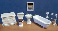 1/12 Dolls House Furniture Miniature White Bathroom Set Bath Sink etc. BN LGW