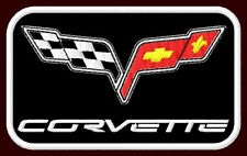 "CORVETTE CHECKERED FLAG EMBROIDERED PATCH ~3-1/8"" x 1-7/8"" CHEVROLET SPORTS CAR"