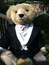 NWT Steiff Ralph Lauren Polo Bear Tuxedo Black Tie Suit Growler Rare Knopf im oh