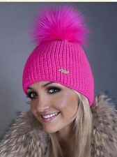 Ski Pink Warm Stylish Ladies Woman Knitted Crochet Beanie Winter PomPom Hat Cap