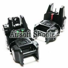 Airsoft Gear APS Flip Up Rhino Front Rear Sight with Fiber Optic Set Black Green