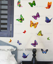 17 Multicolor Mariposa pegatinas de pared arte calcomanía Transparente Vinilo Decoración del Hogar