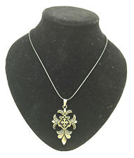 Charm Fashion Jewelry Stainless Steel Bronze Cross Pendant Black Necklace Gift#2