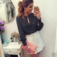 Summer Women Lady Casual Long Sleeve Blouses Chiffon Polka Dots Shirt Top