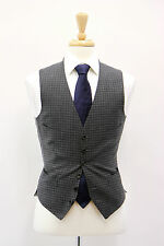 NEW Tom Ford 100% Wool Charcoal Gray Gingham Print Waistcoat Vest Sz 48R/38R US