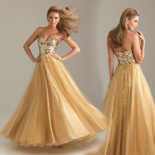 Gold Sequined Sweetheart Evening Dress Quinceanera Formal Prom Pageant Ball Gown