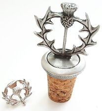 Thistle Pewter Bottle Stopper + Silver Thistle Pin Badge + GiftBag