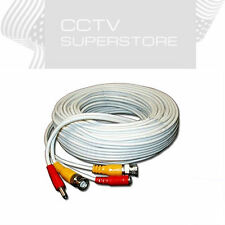 Security Camera Cable 100ft CCTV Video Power Wire Siamese BNC RCA White Cord DVR