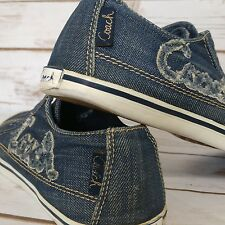 COACH Keeley Blue Denim Shoes Sneakers Flats Womens Size 8 B