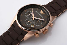NEW Emporio Armani AR5890 Rose Gold Brown Men's Chronograph Watch UK Shipping