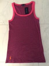 NWT POLO RALPH LAUREN LADIES PINK BLUE RIBBED TANK TOP TEE SHIRT PONY LARGE