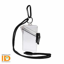 WITZ SEE IT SAFE CLEAR WATERPROOF ID BADGE HOLDER CASE and CARABINER CLIP NEW