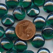 1V**6 cabochons verre  anciens fond conique 11mm VERT