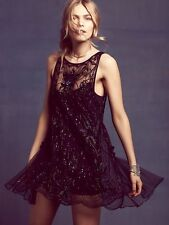 Free People Night Breeze Beaded Shift Dress Black Size XS $400 Sold Out