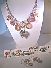 "LOVELY ""PINKS & SILVER"" NECKLACE-HANDCRAFTED IN USA-BEAUTIFUL FREE MATCHING EAR!"