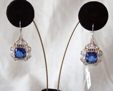 Gems En Vogue II Sterling Palladium Large Lab Created Tanzanite Earrings NWT *