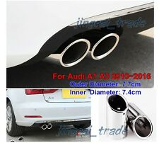 2 x Steel Silver Muffler Exhaust Pipe Tip for Audi A1 A3 2010~2016 NO SCREW