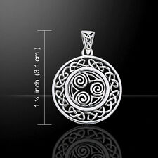 Celtic Knotwork Triskele .925 Sterling Silver Pendant by Peter Stone