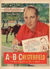 "1950 Chesterfield Cigarettes PRINT AD Bing Crosby ""Riding High"""